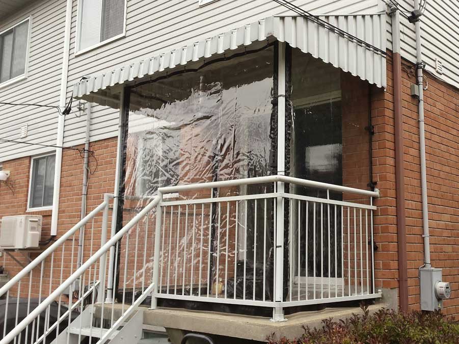 Our clear vinyl curtains protect porches, driveways, balconies ...
